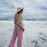 Vacation Sewing- Odgen Floral Cami and Red + White Stripe Holly Pants