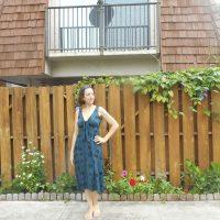 Blue Teal Stamped Dot Knit Dress Vogue 9312
