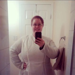 Day 24: Challenge. My coat making continues with the third sleeve muslin. Now that the sleeves are in I will have to make a broad back adjustment because there is some tightness across the shoulders when I cross my arms. The never ending muslin.... #bpsewvember #sewprettyinpinkmakesacoat