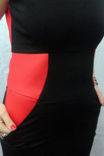 Red leather and stretch cotton sheath dress - Yoke and pocket detail