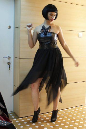 Chiffon and leatherette party dress
