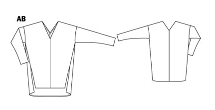 Oversize V-Neck Sweater 12-2015 #118A - Line Drawing.png