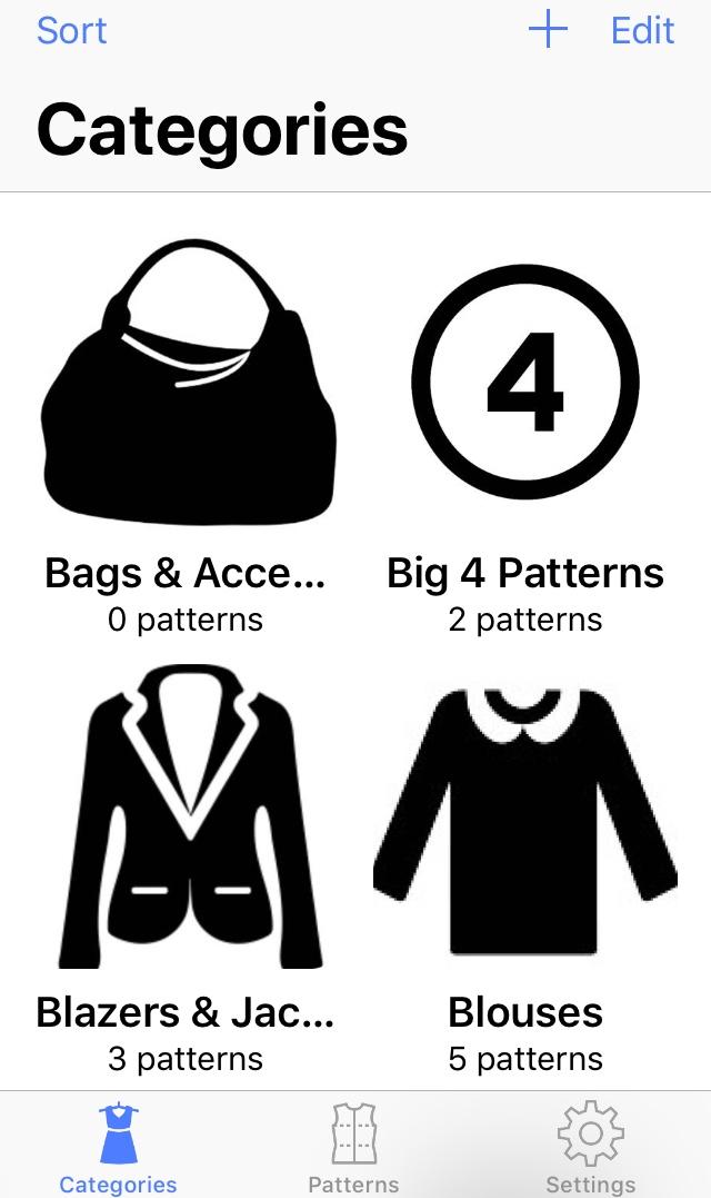 Sewing Pattern App - Categories 4