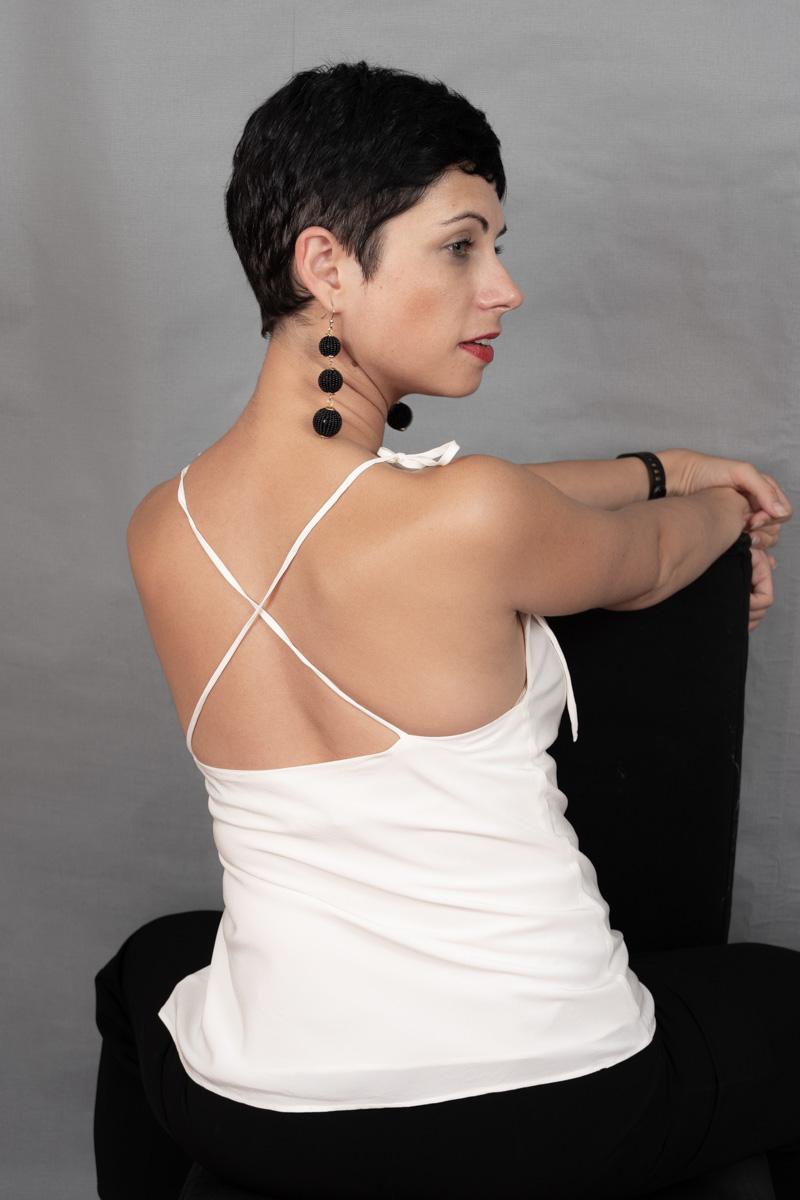 Just Patterns Kate Bias Top White silk camisole