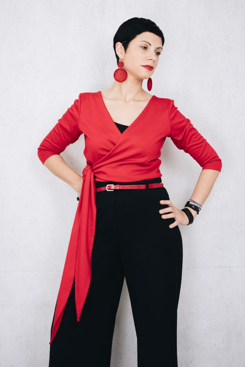 November Wardrobe Count - Red ballet wrap top with high waist trousers and block heel sling back sandals