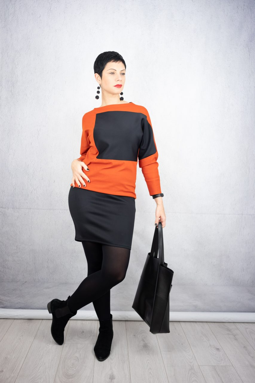 Colour block fitted dress in orange and black, leather tote and suede ankle boots