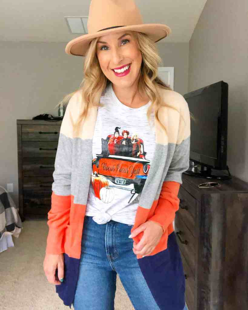 fedora, Hocus Pocus Tee with color block cardigan