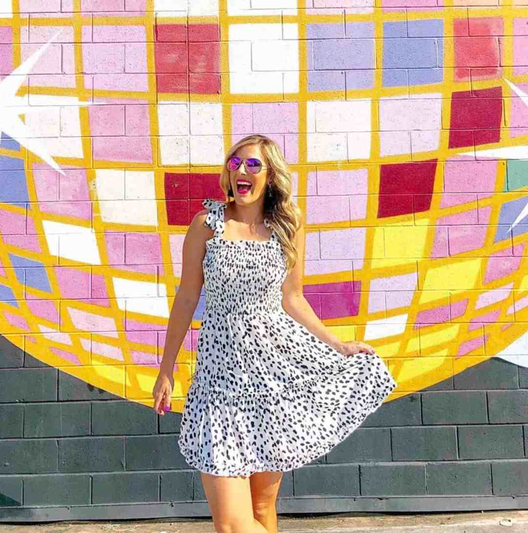 polka dot dress and sunglasses