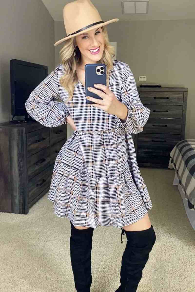Plaid Dress hat and boots