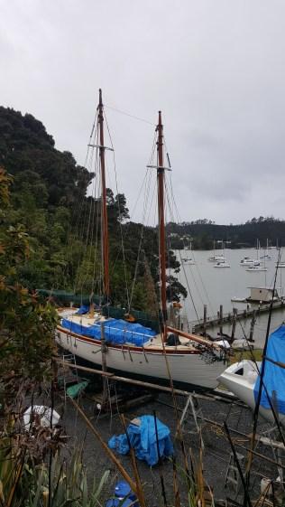 sailboat under repairs at Opua