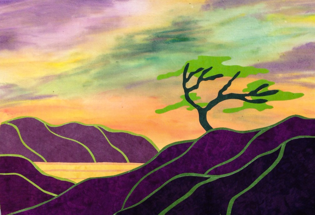 I Chose A Triad Color Scheme Using Green Violet And Orange The Sky Was So Fun To Paint Mountains Fairly Shimmer With