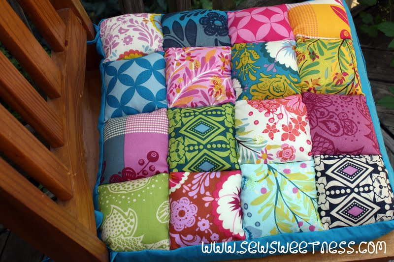 """Junk in the Trunk Chair Cushions"" Free Quilted Kitchen Pattern designed by Sara from Sew Sweetness"