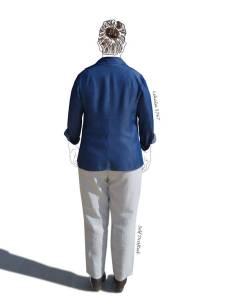 tencel shirt, linen pants from behind