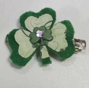 Finished Barrette, Easy St. Patrick's Day Barrette
