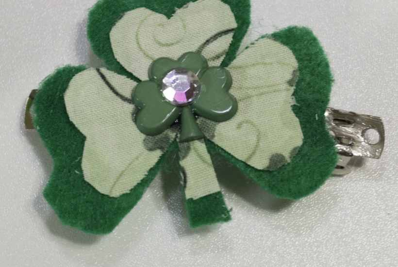 Finished Barrette, Easy St. Patrick's Day Barrette