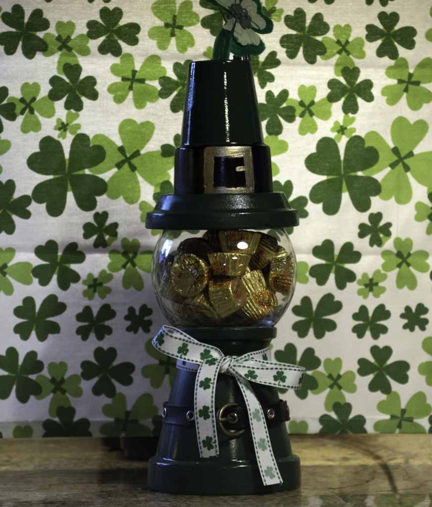 St.-Pats-Gumball-Machine-with-Candy-873x1024 How to make a St. Patrick's Day Gumball Machine