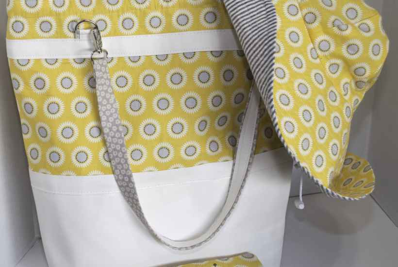 Yellow and Grey Hat tote, and Sun Glass Case Trio, Latest
