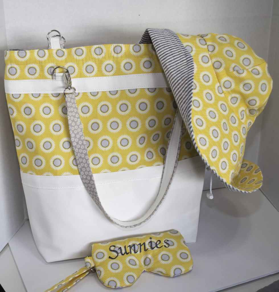 Yellow and Grey Hat tote, and Sun Glass Case Trio, Latest, Summer hat and tote trio