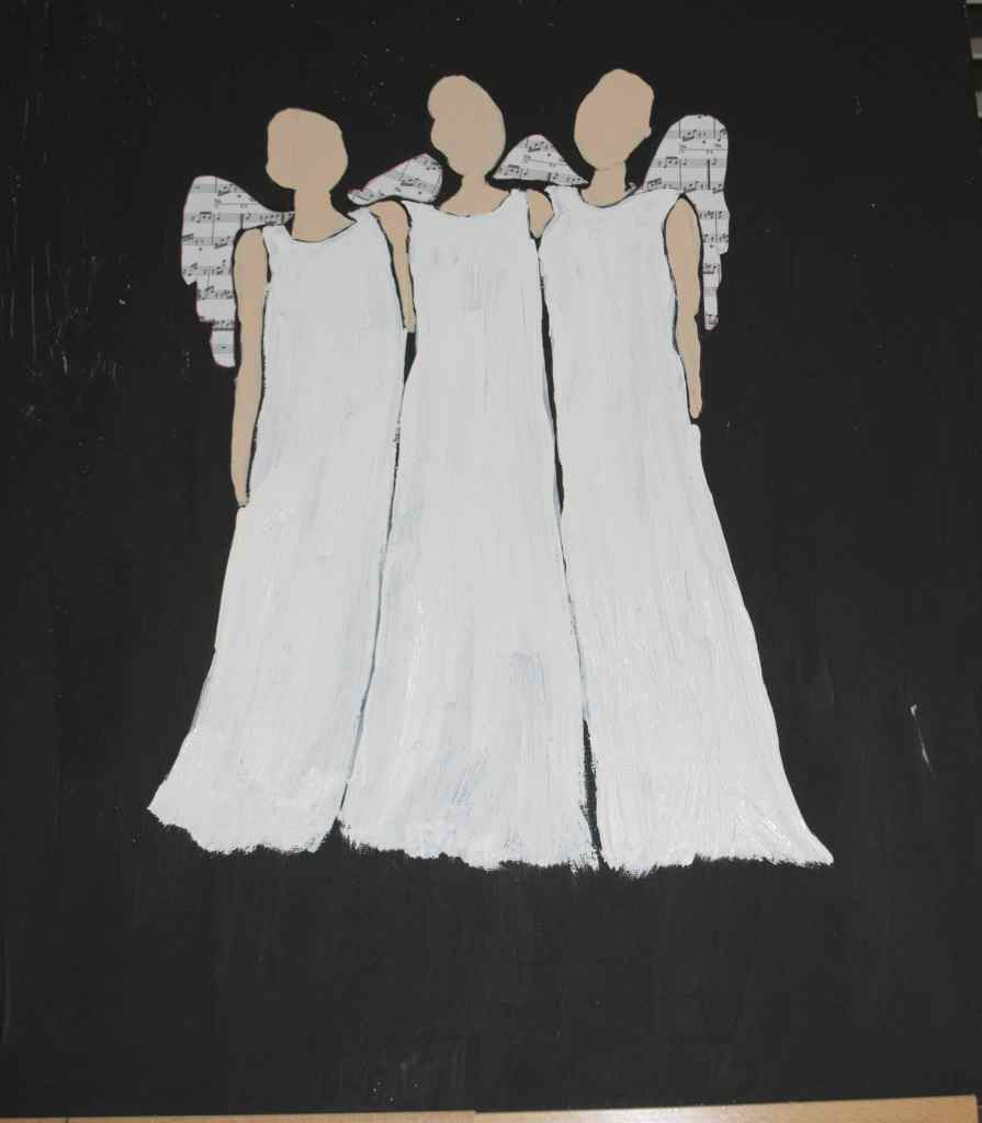 Add the Music to the Wings and Paint the Dresses White, Paint your Own Christmas Angels