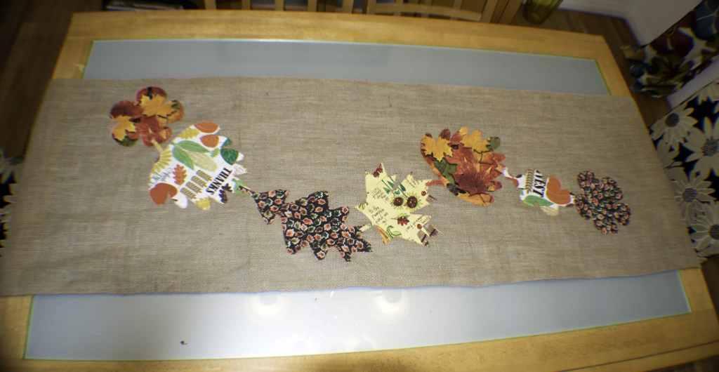 FALL APPLIQUE BURLAP TABLE RUNNER