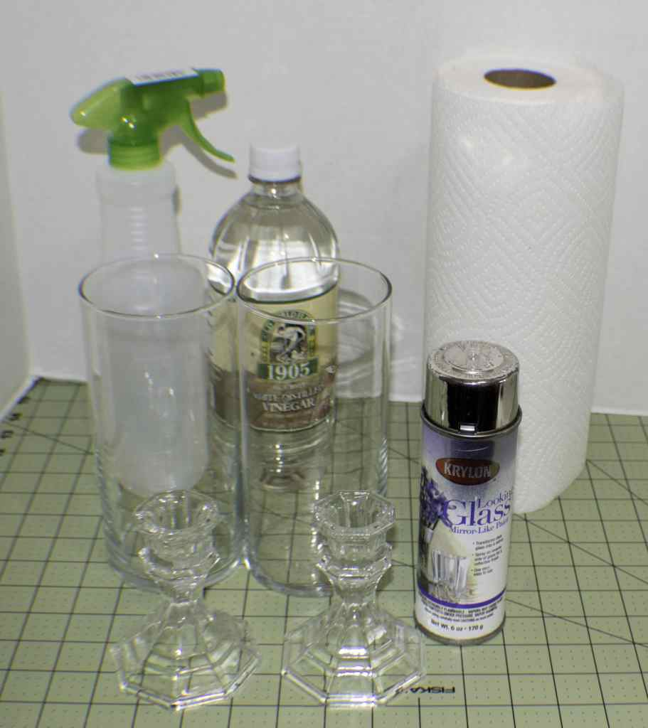 Dollar Store Fuax Mercury Glass Hurricanes