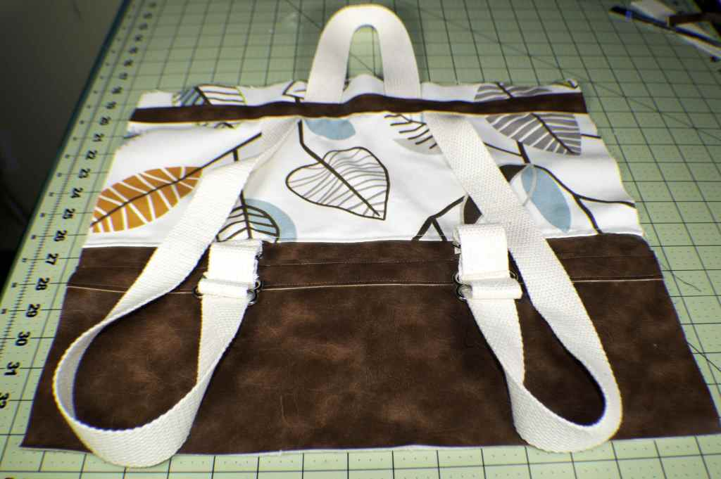 Add-the-handles-and-the-top-strip-1024x681 How to Sew a DIY Backpack Purse