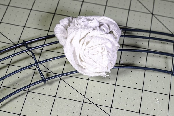 Make a drop cloth rosette wreath