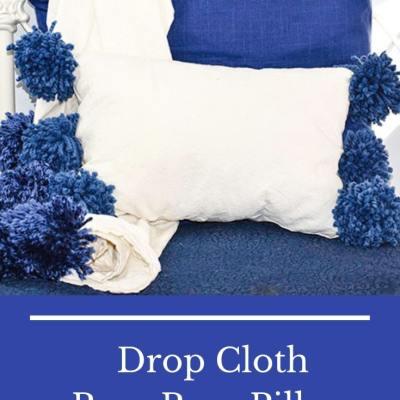 Make a Drop Cloth Pom Pom Throw Pillow