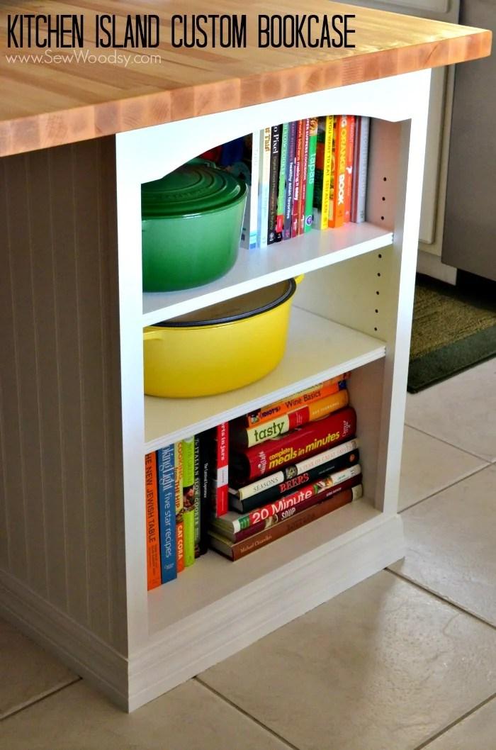 kitchen bookshelf stand mixer video island custom bookcase sew woodsy tutorial created for homesdotcom by sewwoodsy com diy