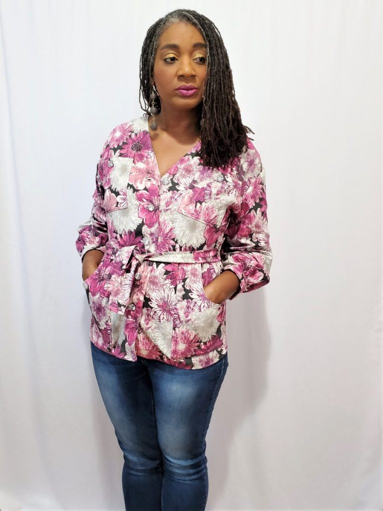 Simplicity S9047 Woven Jacket with Pockets and Belt
