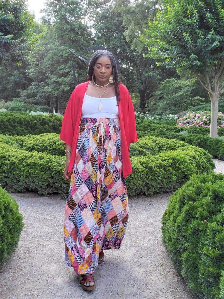 Bohemian Patchwork Maxi Skirt with Drawstring