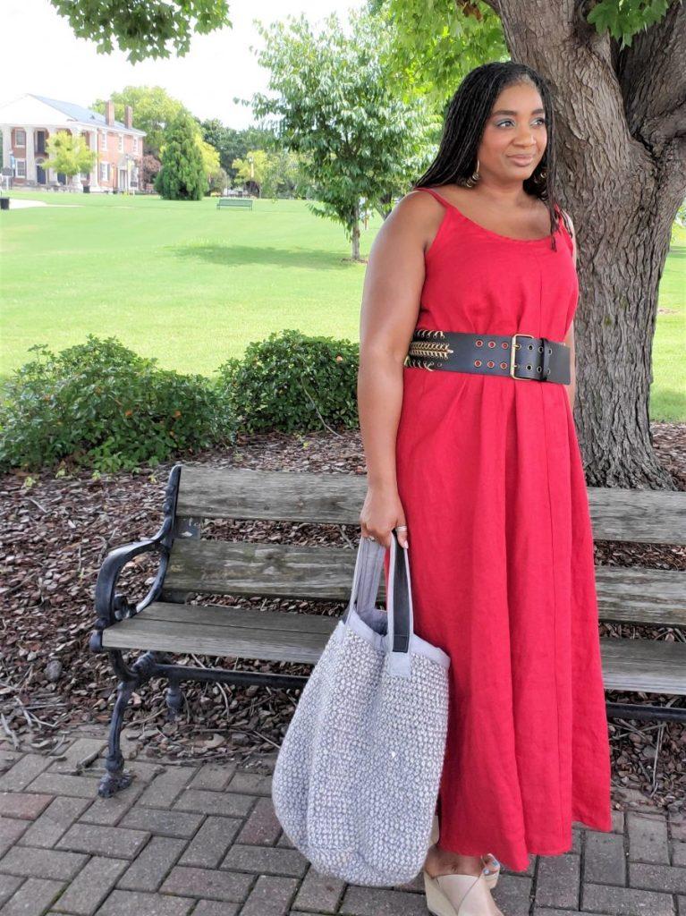Red Linen Maxi Tank Dress