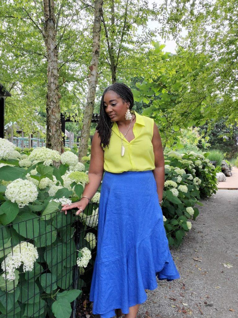 Blue Linen Ruffled Skirt
