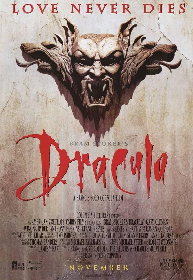 Poster for Dracula, showing a screaming gargoyle of Dracula's face