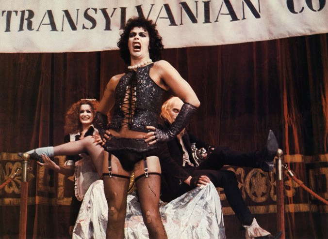 Image from Rocky Horror showing a snarling Frank N Furter