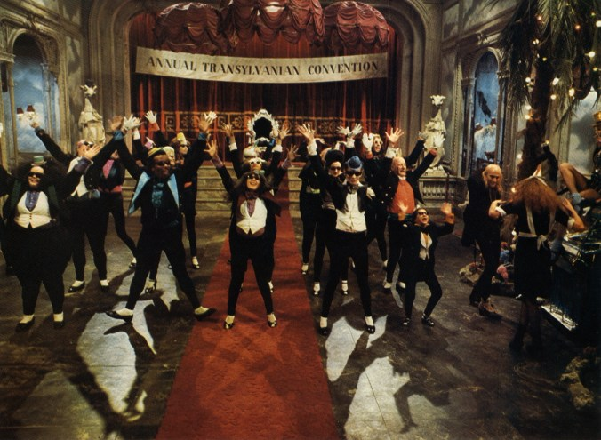 An image from Rocky Horror showing a dancing troupe dancing to the Time Warp