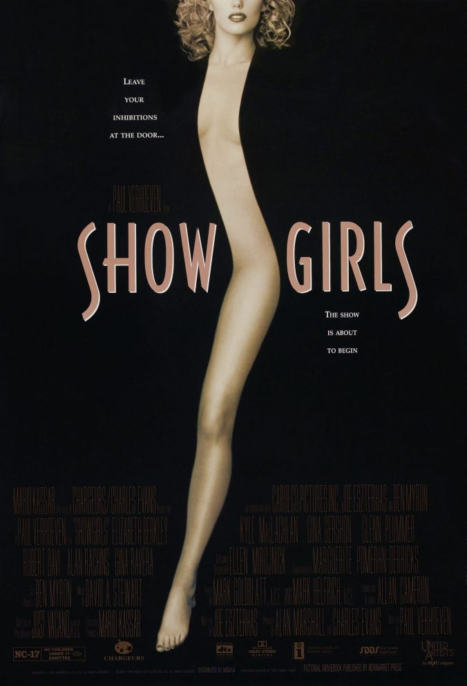 Poster for Showgirls of Elizabeth Berkeley's leg and a strip of her body against a black background