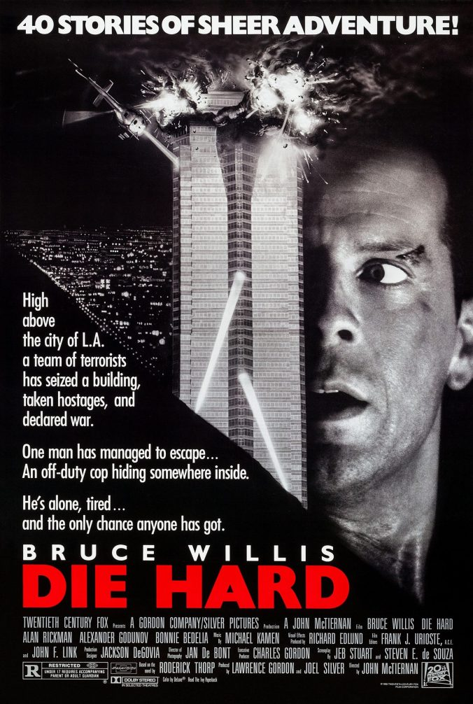 The Die Hard poster showing McClane's face against a sky scraper that is exploding!