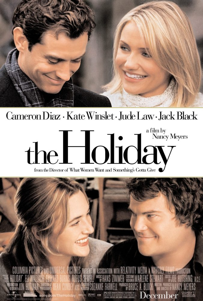 The poster for The Holiday showing Law and Diaz smiling at each other, and Black and Winslet doing the same