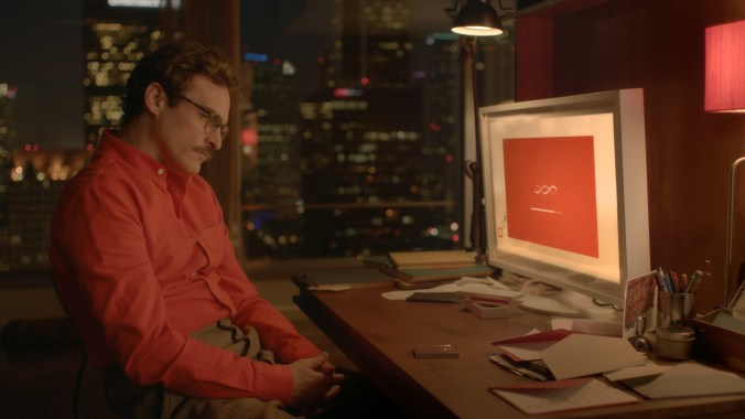 An image from Her showing Theodore looking at his computer screen