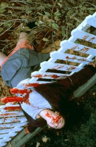 Image from Ginger Snaps of a recreated murder scene