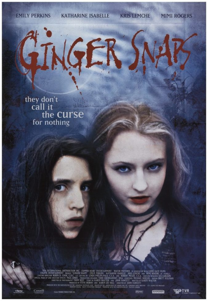 Movie poster for Ginger Snaps with tagline 'they don't call it the curse for nothing!'