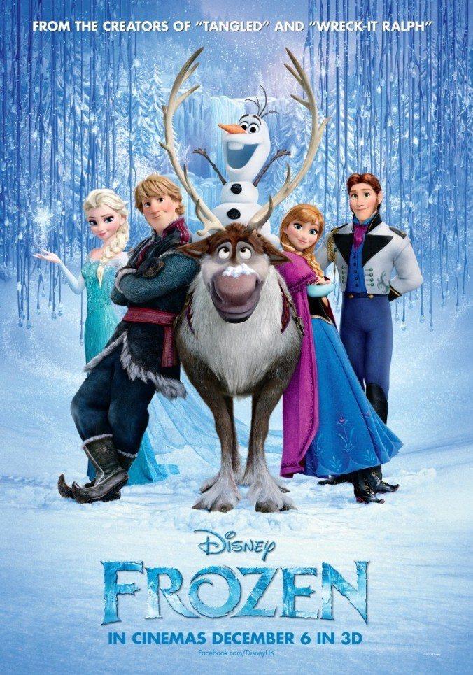 The poster for Frozen, showing all the main characters standing in the snow