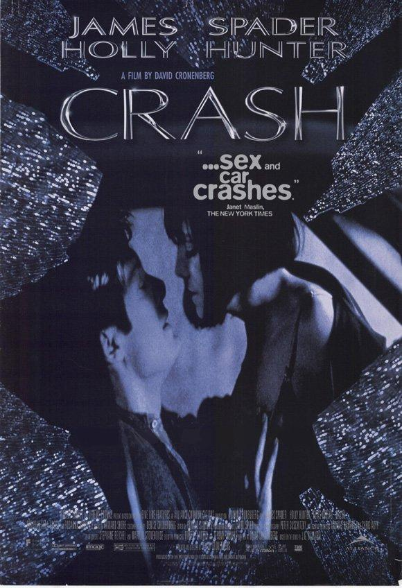The poster for Crash showing Spader and Hunter looking horny in a crashed car