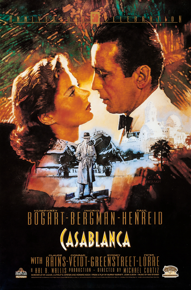 Casablanca poster showing Bogart and Bergman gazing lovingly at each other