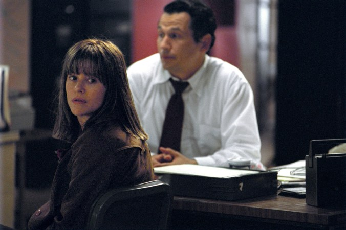 Frannie in the police station with Malloy's partner; an image from In the Cut
