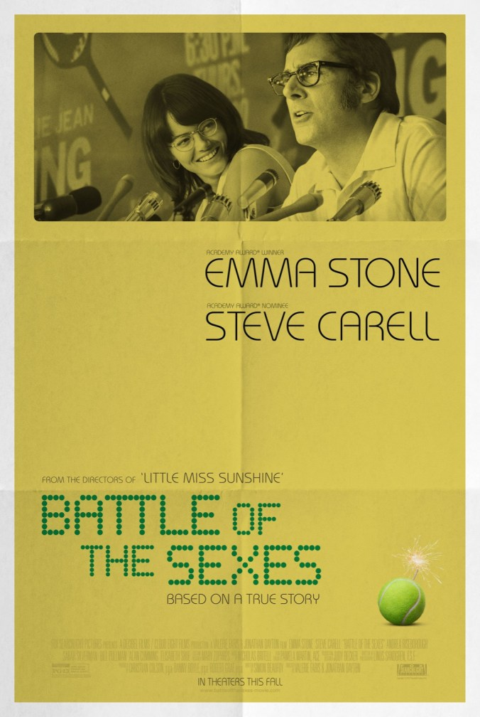The poster for Battle of the Sexes showing King and Riggs at a press conference