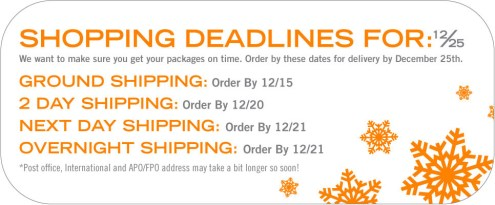 Tantus Holiday Shipping Dates