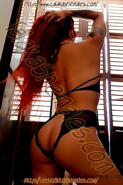Sensual travesti tatuada en Barcelona en lencería negra.