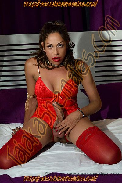 Penetrating powerful and excited trans in red lingerie with very hard cock.